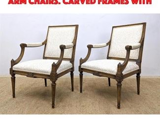 Lot 437 Pr Upholstered Fauteuils Arm Chairs. Carved frames with