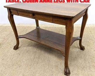 Lot 438 Antique Oak Center Hall Table. Queen Anne legs with car
