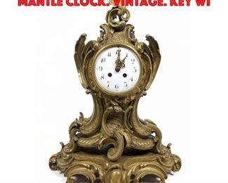 Lot 439 Ornate Bronze Enamel Dial Mantle Clock. Vintage. Key Wi