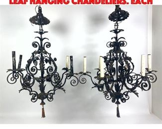 Lot 446 Pr Black Iron Scroll and Leaf Hanging Chandeliers. Each