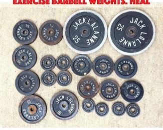 Lot 448 22pc 150lbs JACK LALANNE Exercise Barbell Weights. Heal