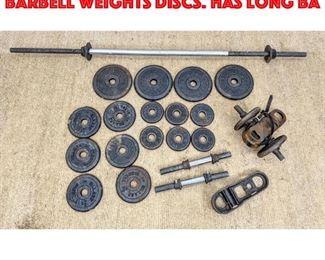 Lot 449 Lot Assorted BILLARD Barbell Weights Discs. Has Long ba