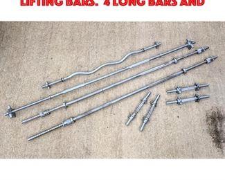 Lot 450 8pcs Solid Steel Weight Lifting Bars. 4 Long bars and