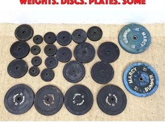 Lot 451 25pc Vintage Metal Barbell Weights. Discs. Plates. Some