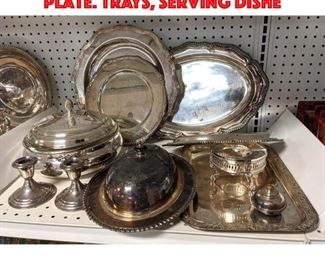 Lot 457 Large Lot of Vintage Silver Plate. Trays, serving dishe