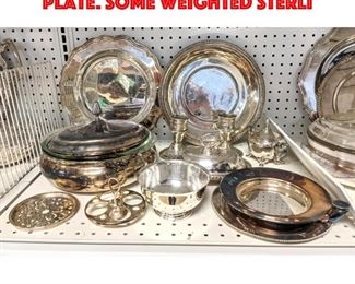Lot 458 Large Lot of Vintage Silver Plate. Some weighted sterli