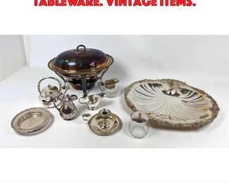 Lot 461 Collection of silverplate tableware. Vintage items.