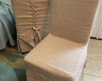 $395 Set of 4 linens chairs only 2 photos brand new (client also have 2 new in box Pair $195)