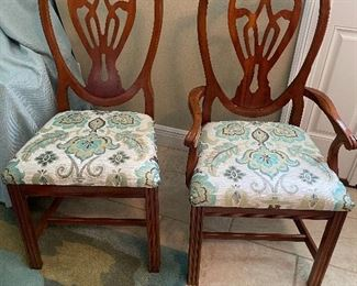 """4 chairs & 2 Arms sold with the table. Armchair is 21""""W x 42""""T x 24""""D"""