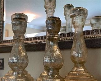 $50 Set of 5 mercury glass candlesticks