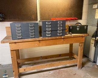 Tool Bench and metal Drawer Storage Boxes