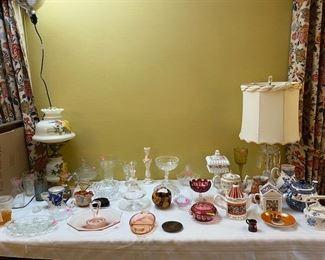 Glassware, Depression Glass, Lamps