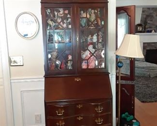 Secretary with drop front, drawers below, and shelves above, 1940s mahogany