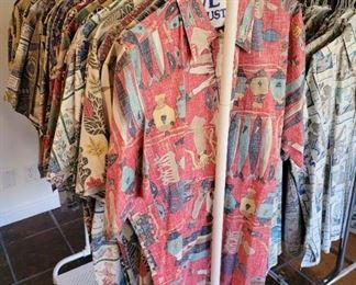 Racks of beautiful Reyn Spooner men's shirts...over 170!