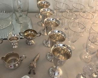 Several pieces of sterling  6- sterling goblets 2-sets Cream and sugar's