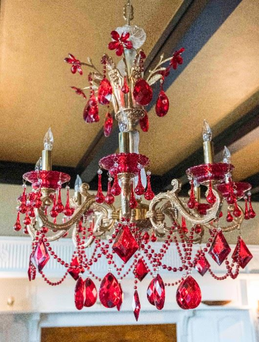 A Venetian style leaded glass 8 candle chandelier. Approximate dimensions H 36 x D 28         $5,000.00