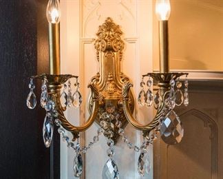 A Set of Four Brass and leaded glass drop sconces. H 14 x W 13 1/2 .   For the set $2,800.00