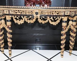A Louis XIV Style Parcel Gilt Wood and Burl Walnut Demilune Console.  Last Quarter of the Twentieth Century. No Marks Evident.  Dimensions: Height 35 x width 71 x depth 24 inches.    $5,000.00