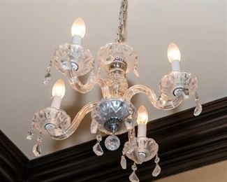 A Venetian Glass Diminutive Four Light Chandelier. Circa 2000-2010.  Condition: Very Good. Dimensions: Height 13 ½ x width 16 inches approximately.$350.00
