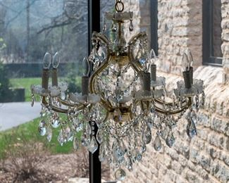 Three Venetian Style Leaded Glass and Brass Eight Light Accented Chandeliers. Possibly Swarovski.  Circa 2010-2013. Condition: Very Good. Dimensions: Height 32 x width 32 inches approximately.   For Three $3,000.00 Each $1,000.00