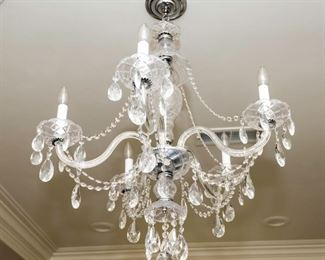 A Pair of Baccarat Style Leaded Glass Five Light Chandeliers. Circa 2010-2013. Condition: Very Good. Dimensions: Height 32 x width 24 approximately.    For Two: $1,500.00 Each $750.00.