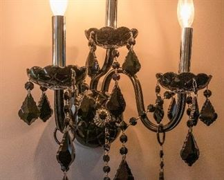 4)A Pair of Venetian Style Colored Glass Three Light Sconces. Circa 2010-2013.  Condition: Very Good. Dimensions: Height 16 ½ x width 12 ½ inches.           For Two: $500.00