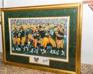After Andrew Goralski. (American, 20th/21st Century). Super Bowl XXXI America's Pack. Lithograph. 1997. Edition of 2031. Signed in Pencil Andrew Goralski Lower Right. Signed in Pen Brett Favre Lower Right. Numbered Lower Center in Pencil 1008/2031.                                                                                       The image commemorating the Packer's victory in Super Bowl 31. Condition: Very Good with no toning to margins. Dimensions: 19 x 26 ½ inches.                                                                    $5,000.00