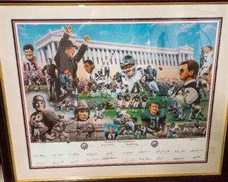 After Timothy Spransy. (American, 20th/21st Century). Chicago Bears World Championships. 75th Anniversary. 1994. Edition of 750. Signed in the Margin in Ink Lower Right T. Spransy. Numbered Lower Left Margin 371/750.  The artist signed lithograph commemorating 75 years of the Chicago Bears in 1994. Condition: Very Good. Dimensions: 26 ½ x 33 ½ inches.                                                       $5,000.00
