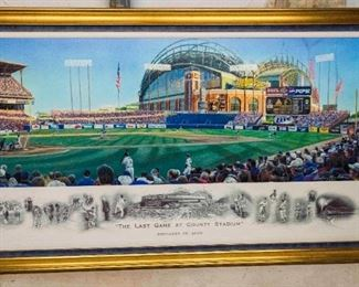 After Andrew Goralski. (American, 20th/21st Century). Last Game at County Stadium. 2000. Edition of 55. Signed and Dated in the Plate Andrew Goralski 2000. Signed Outside the Plate Lower Right Andrew Goralski. Numbered Lower Left in Pencil 13/55. Condition: Very Good with no toning of fading to image. Dimensions:  32 x 65 inches.$5,000.00