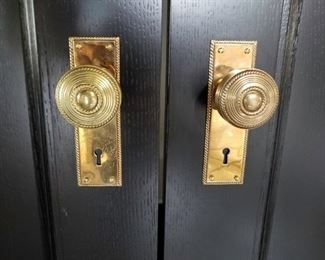 35 (Thirty Five) Sets of Hamilton Sinkler Polished Brass Door Knob, Plates and Locking Mechanisms.  Circa 2013.                           Each set $125.00                                                                                        4 (Four) sets of Hamilton Sinkler Polished Brass Doorknobs and Plates without locking mechanisms.        Each Set $100.00