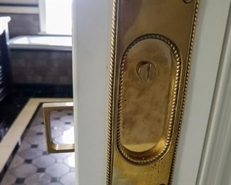 Seven Polished Brass Period Yale and Townsend Pocket Door Plates Locks and Latches. Circa 1892.                                Each Set $100.00                                                                                        Six Polished Brass Contemporary Door Plate Loock and Latches.                                                                                              Each set: $85.00