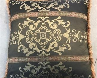 A Group of Eleven Silk embroidered and plain throw pillows. No Manufacturer's marks.                                                  Various sizes with largest 27 x 27 inches to smallest 15 x 8 inches.                                                                                     For each $50.00