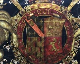 A Stylized Wall Hanging having the British Royal Coat of Arms.                                                                                                                  Height 70 x width 48 inches.                                                                $1,000.00