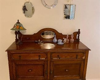 Many lovely antiques purchased during European travels stationed in Germany, oak sideboard $565.00
