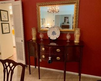 lovely buffet/side board by Hickory Chair Furniture Company, Hepplewhite Style Inlaid Mahogany, $875 has silver cloth case, brass handles,