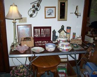 OAK LAMP TABLE, SILVER-PLATE FLATWARE SET, LAMPS & MISC.