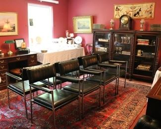 Set of 8 Arthur Gross MCM Chairs, Carved Mahogany Bookcase, Sarouk Rug