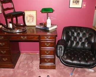 Second Leather  top Sleigh Desk, MCM Leather Swivel chair
