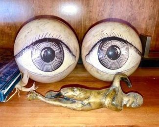 Hand crafted eyeballs, brass man figure