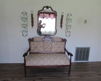 Rosewood settee, walnut mirror, pine sconces, Bavarian plates with holder
