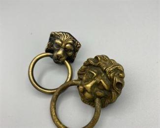 Lion head brass door pulls