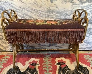 Victorian cast iron bench with embroidered top