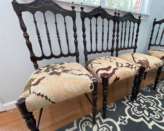 5/ $450 Six Antique Portuguese style chairs with ladder back (some loss)