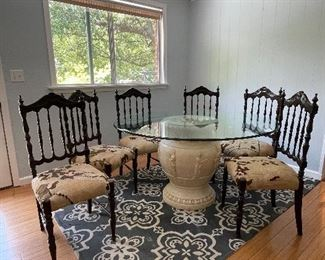 """4/ $350 Dining Table glass top, terracotta base painted 54""""round x 30""""H with ½ inch glass"""