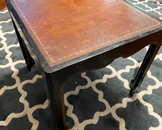 """8/$195 Baker square table with leather top 20"""" x 20"""""""