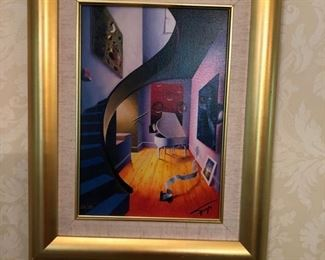 """26. Gilt Framed Print of Staircase & Piano by William Gayo 227/250 (15"""" x 18"""")"""