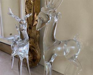Glass Deer figurines