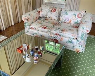 Pair of matching love seats; mirror coffee table