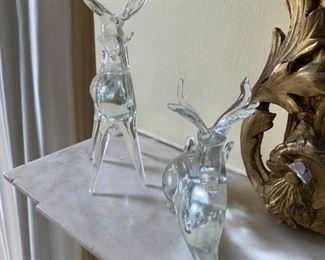 Clear deer figurines