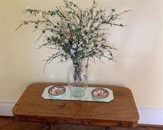Sofa table; large floral arrangement